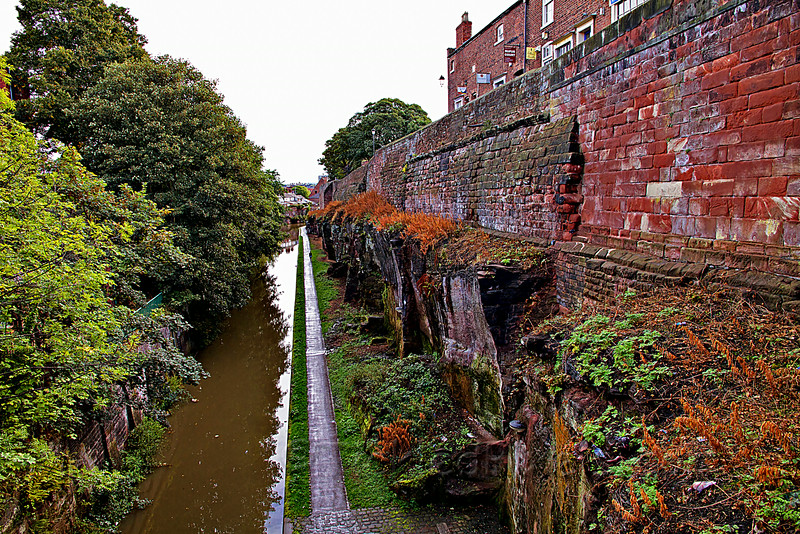 Chester's Roman walls along the Shropshire Union Canal