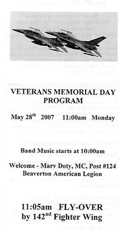 Memorial Day - May 28, 2007