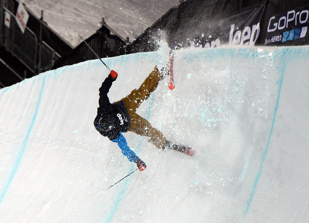 . ASEN, CO. - JANUARY 25:  Aaron Blunck hit the edge of the pipe and crashed during the Men\'s Ski SuperPipe Final, January 25, 2013, at the 2013 Winter X Games at Buttermilk Mountain in Aspen. (Photo By RJ Sangosti / The Denver Post)