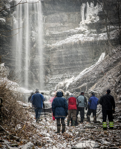 Photographers at the base of the Cape Vesey Waterfall near Waupoos, January 28, 2017, Canon 6D, .6 sec, F14, ISO 50