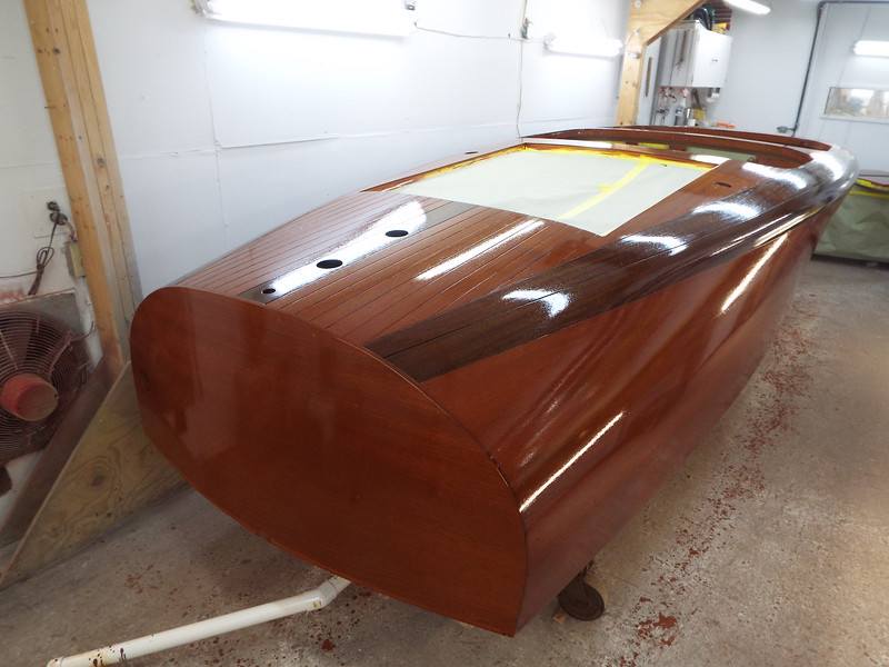 Rear starboard view with the first coat of varnish applied.
