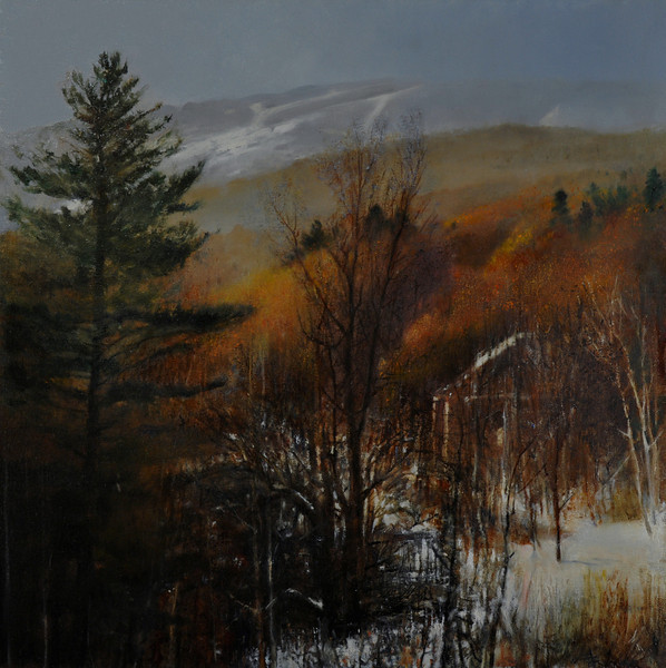 Winter of Low Snow Oil on Canvas (Killington, VT) 24X24 Awards:  1. Special Recognition, Beaus-Arts RE'ALIST, Canada 2. Mitchell Manchester Memorial Prize, 48th Annual Juried Exhibition                           Gallery on the Green, Canton, CT 2015    It is Sad and low as the wind blow at the distant hills in winter of low snow but at this moment, is the glow  of the near sunny hills is the only thing that matters,