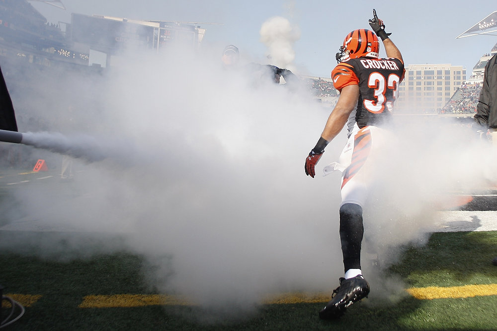 Description of . Chris Crocker #33 of the Cincinnati Bengals takes the field before the start of the game against the Baltimore Ravens at Paul Brown Stadium on December 30, 2012 in Cincinnati, Ohio.  (Photo by John Grieshop/Getty Images)