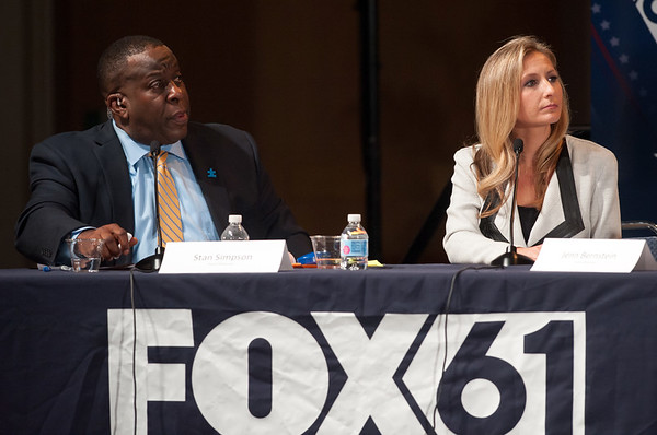 10/17/18 Wesley Bunnell | Staff CCSU along with Fox 61 hosted a 5th Congressional District Debate on Wednesday evening with Democratic candidate Jahana Hayes and Republican candidate Manny Santos who are both vying for the seat being vacated by Elizabeth Esty. Stan Simpson, host of Fox 61's The Stan Simpson Show and Jenn Bernstein the chief political reporter and co-anchor of Fox 61's The Real Story.