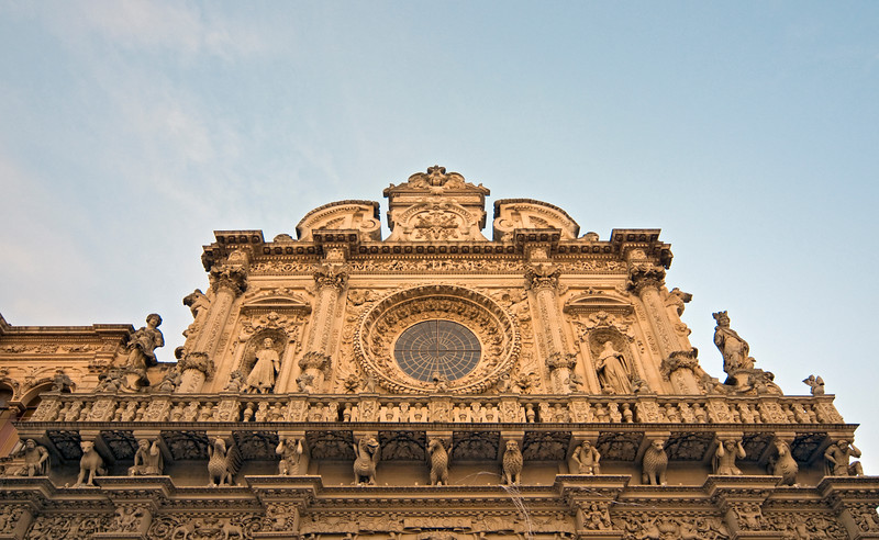 Detail of Facade of Holy Cross Basilica, Lecce, Italy