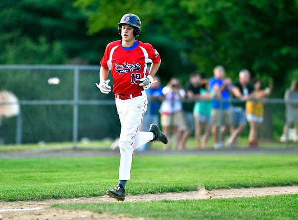 7/31/2019 Mike Orazzi | Staff Southington's Ethan Mcdonough (19) during Tuesday evenings American Legion Baseball game with Waterford in South Windsor.