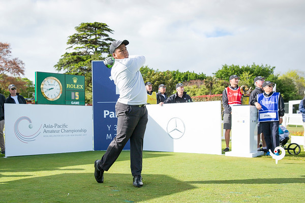 Hein Sithu from Mayanma hitting off the 1st tee on Day 1 of competition in the Asia-Pacific Amateur Championship tournament 2017 held at Royal Wellington Golf Club, in Heretaunga, Upper Hutt, New Zealand from 26 - 29 October 2017. Copyright John Mathews 2017.   www.megasportmedia.co.nz
