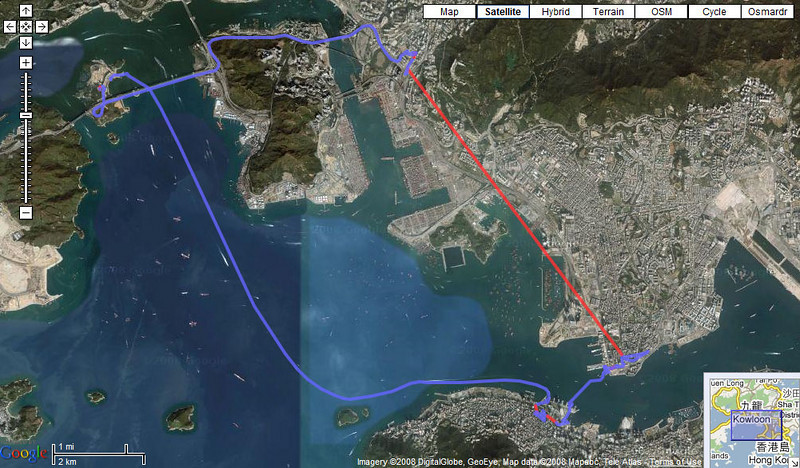GPS track recorded by iBlue 747A  GPS Data Logger. Extracted and plotted by BT747. Blue lines are with a FIX, red lines with a signal loss (underground train)