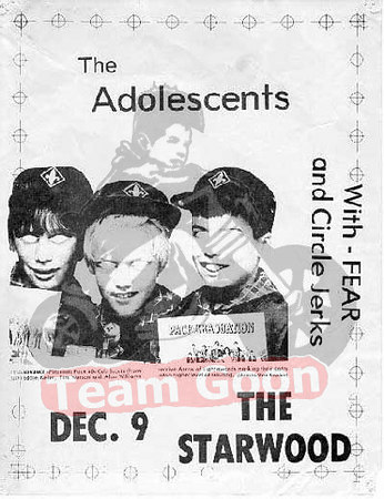 The Adolescents - FEAR - Circle Jerks - at The Starwood - Hollywood, CA
