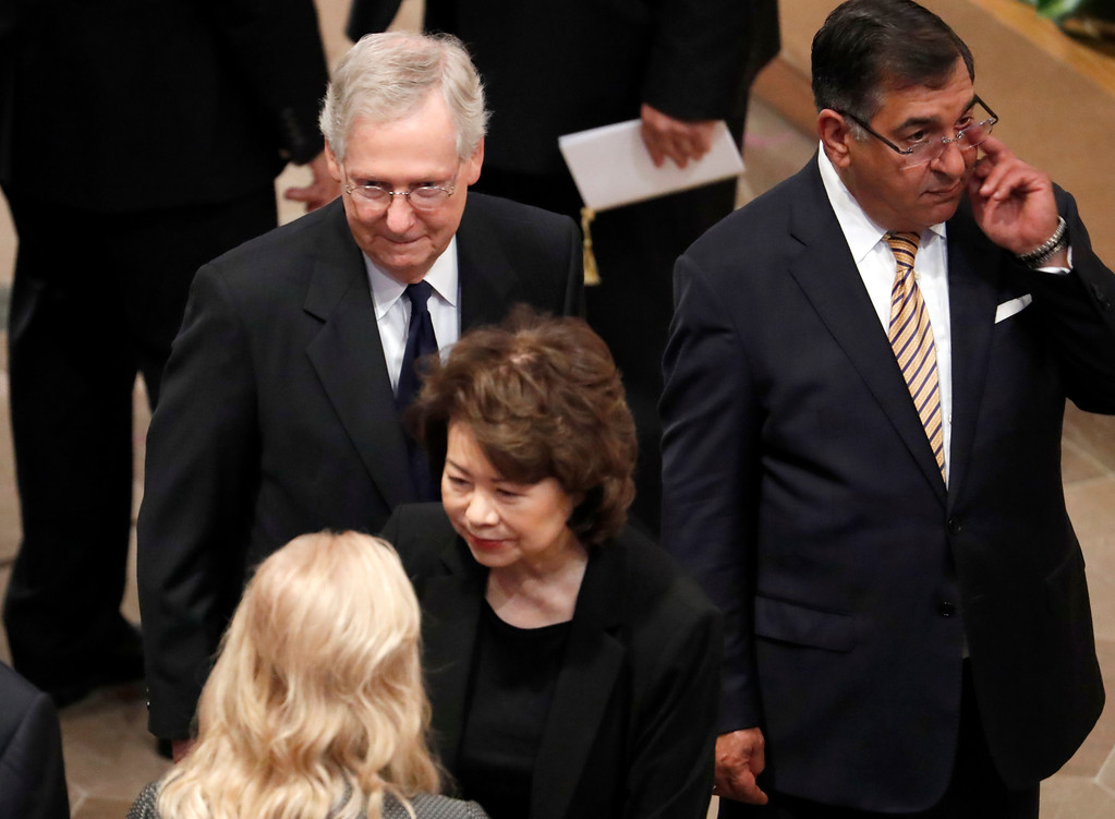 . Senate Majority leader Mitch McConnell  and his wife Transportation Secretary Elaine Chao, arrive at a memorial service for Sen. John McCain, R-Ariz., at Washington National Cathedral in Washington, Saturday, Sept. 1, 2018. McCain died Aug. 25, from brain cancer at age 81. (AP Photo/Pablo Martinez Monsivais)