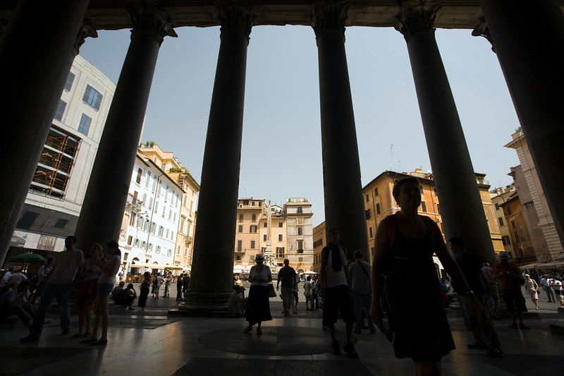 View of Piazza della Rotonda through the Pantheon columns, Rome