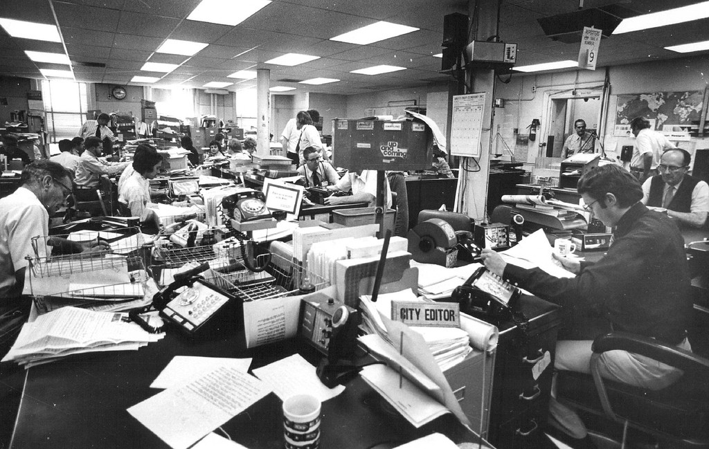 . The Denver Post Newsroom in 1974. (From The Denver Post Library Archive)