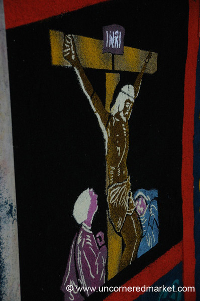 Semana Santa, Crucifixion in Sawdust Art - Antigua, Guatemala