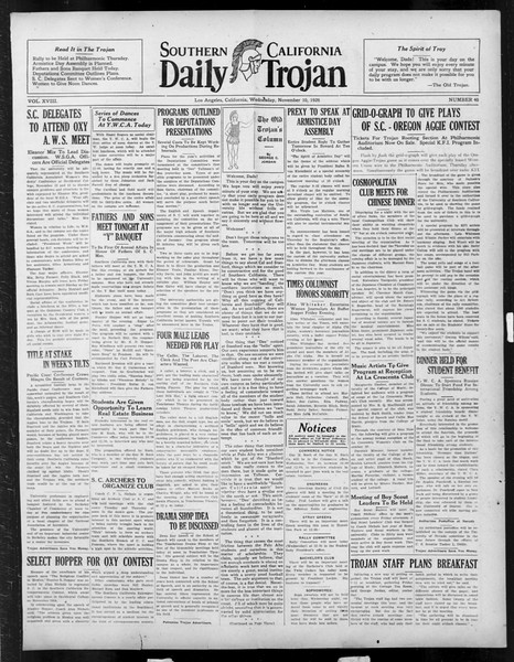 Daily Trojan, Vol. 18, No. 40, November 10, 1926