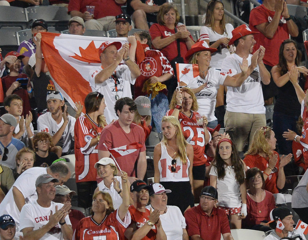 . COMMERCE CITY, CO - JULY 17: Canadian fans saw their team advance to the finals with a win over the Iroquois Nationals Thursday night. The Iroquois Nationals took on Canada in a FIL World Championship semifinal game Thursday night, July 17, 2014.  Photo by Karl Gehring/The Denver Post