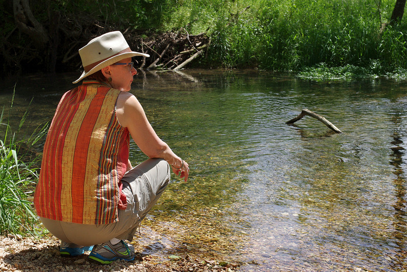Rita, on the banks of Crane Creek; Old Wire Road Conservation area near Crane, Missouri. April, 2012