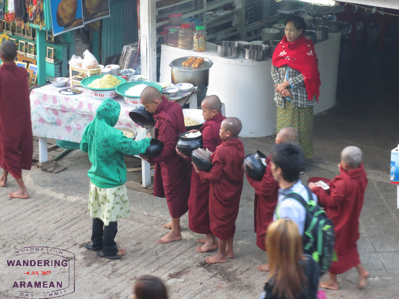 Young monks begging for their food.