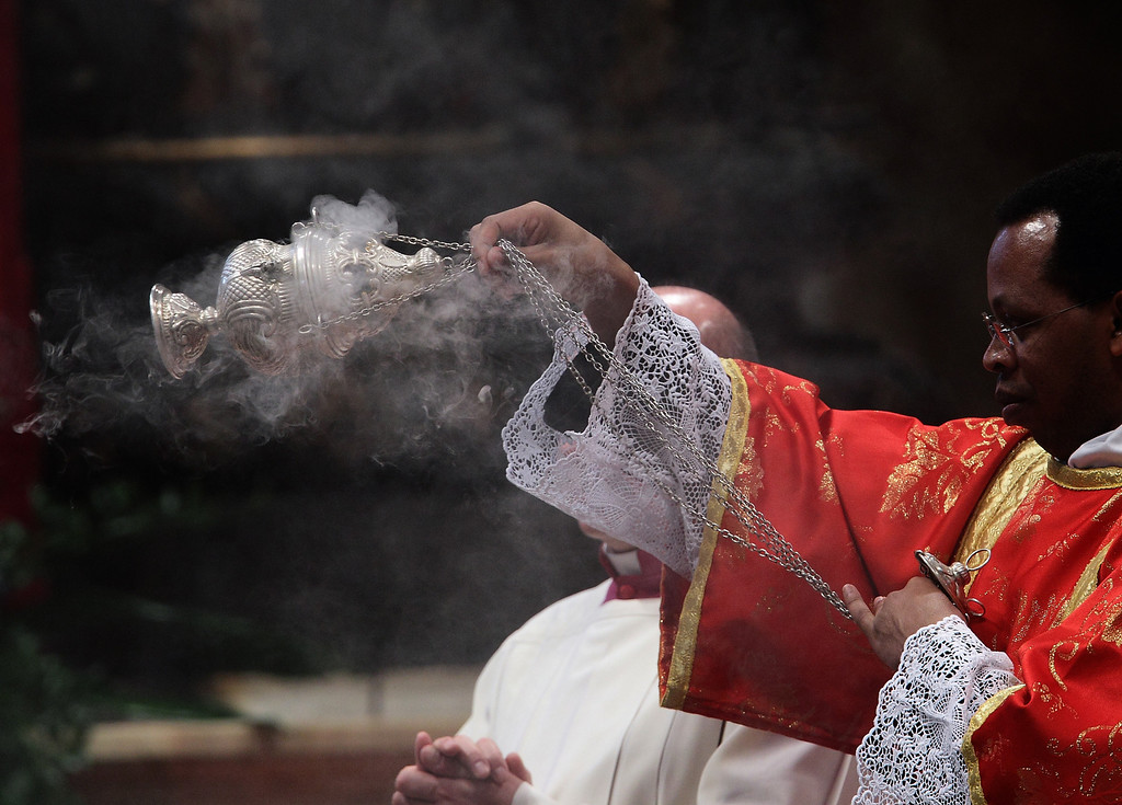 """. The Catholic Church\'s 115 cardinal electors take part in a mass in St. Peter\'s Basilica, Tuesday, March 12, 2013, ahead of entering the conclave for a papal election that observers say has no clear favorite. The Pro Eligendo Romano Pontefice (\""""For the Election of the Roman Pontiff\"""") mass is presided by Angelo Sodano, the elderly dean of the College of Cardinals, and is also open to non-voting cardinals - those aged more than 80. (Evandro Inetti/Zuma Press/MCT)"""