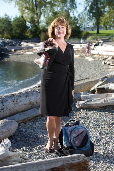 "Mary Kauffman-Cranney used to wear opera dresses for her ""uniform,"" but made a switch to more casual fare when she went to The Nature Conservancy.  Shot for Washington State Magazine"