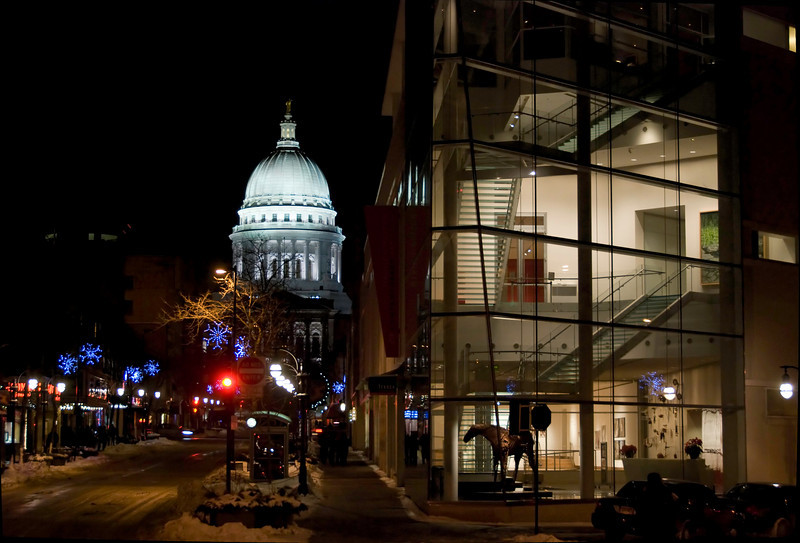 Night, on State Street, Madison, Wisconsin. On our walk back to our hotel.