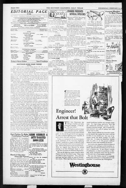 Daily Trojan, Vol. 17, No. 85, February 10, 1926