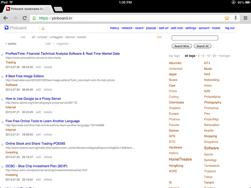 Managing Bookmarks with Pinboard.in