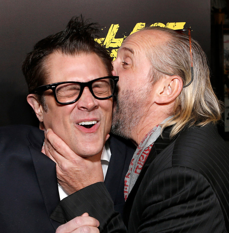 ". Johnny Knoxville, left,  and Peter Stormare attend the LA premiere of ""The Last Stand\"" at Grauman\'s Chinese Theatre on Monday, Jan. 14, 2013, in Los Angeles. (Photo by Todd Williamson/Invision/AP)"