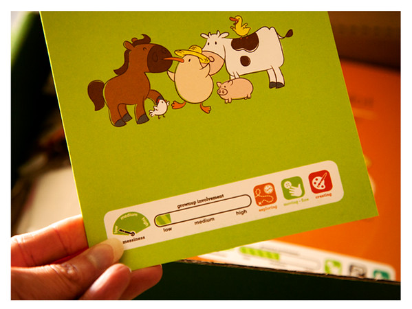 August 2014 Kiwi Crate: My Barnyard Friends Skills and Messiness Gauge