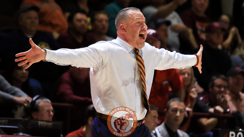 Head coach Buzz Williams yells for attention from the referees after a no-call against the Hokies. (Mark Umansky/TheKeyPlay.com)