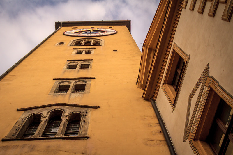 The clock tower in Regensburg, Germany