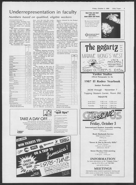 Daily Trojan, Vol. 102, No. 24, October 03, 1986