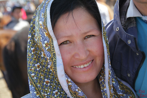 Portrait Kyrgyzstan: woman at animal market 2