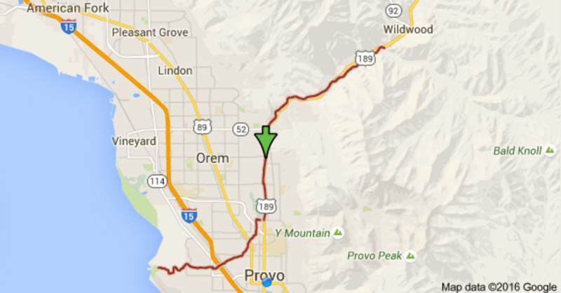 Map of the Provo River Parkway. It's long. Screenshot of Google Maps.
