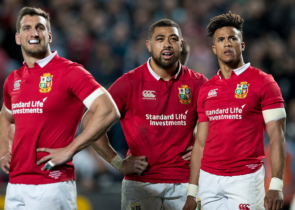 Sam Warburton, Taulupe Faletau and Anthony Watkins during game 7 of the British and Irish Lions 2017 Tour of New Zealand, the first Test match between  The All Blacks and British and Irish Lions, Eden Park, Auckland, Saturday 24th June 2017 (Photo by Kevin Booth Steve Haag Sports)  Images for social media must have consent from Steve Haag