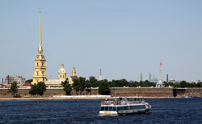 Peter and Paul Fortress, viewed across the Neva river from near the Hermitage.