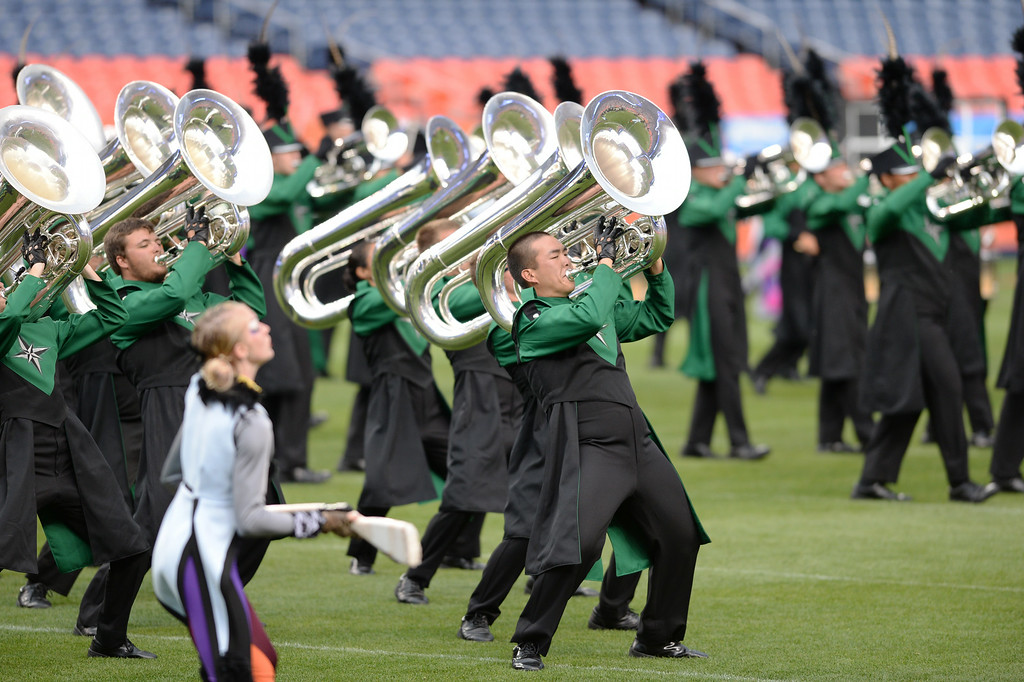 . DENVER, CO - JULY 12: Oregon Crusaders are performing for Drums Along the Rockies in Denver, Colorado July 12, 2014. One of the Rocky Mountain region\'s most-anticipated summertime music attractions for more than 50 years returned to Sports Authority Field at Mile High. (Photo by Hyoung Chang/The Denver Post)