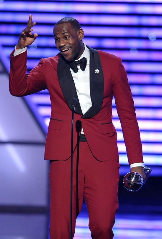 . LeBron James speaks as he accepts the award for best male athlete at the ESPY Awards on Wednesday, July 17, 2013, at Nokia Theater in Los Angeles. (Photo by John Shearer/Invision/AP)