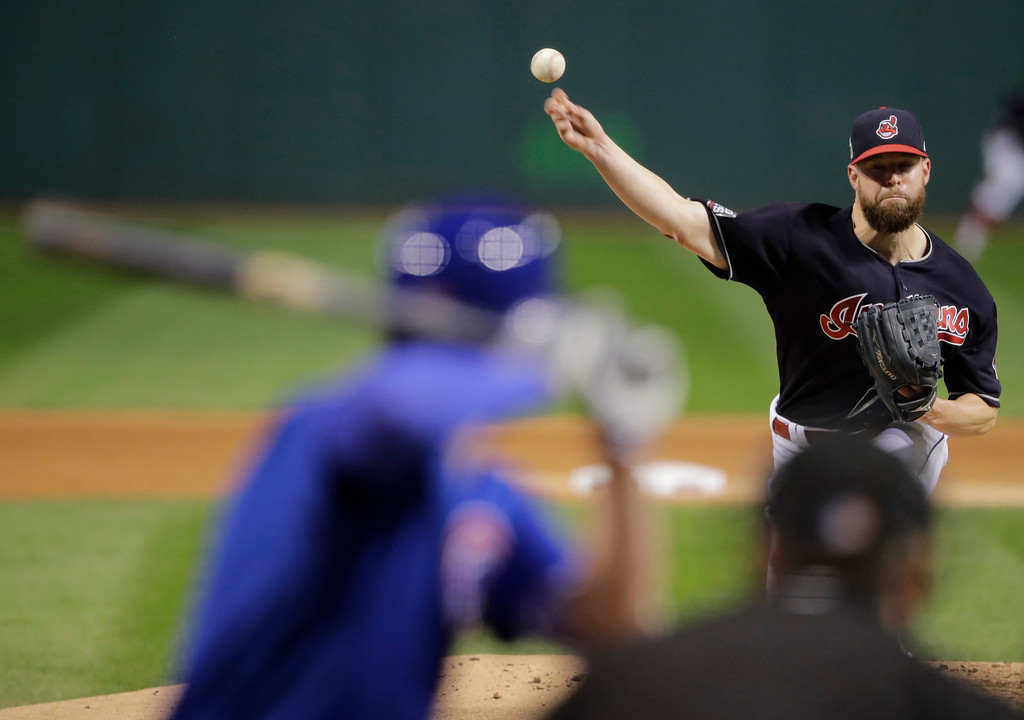 . Cleveland Indians starting pitcher Corey Kluber throws during the first inning of Game 7 of the Major League Baseball World Series against the Chicago Cubs Wednesday, Nov. 2, 2016, in Cleveland. (AP Photo/Gene J. Puskar)