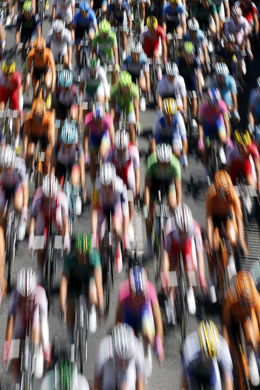 . The pack rides during the 205.5 km seventh stage of the 100th edition of the Tour de France cycling race on July 5, 2013 between Montpellier and Albi, southwestern France.  JOEL SAGET/AFP/Getty Images