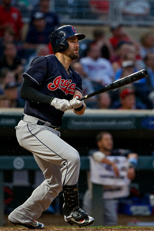 . Cleveland Indians\' Lonnie Chisenhall hits a solo home run against the Minnesota Twins in the fourth inning of the second baseball game of a doubleheader Saturday, June 17, 2017, in Minneapolis. (AP Photo/Bruce Kluckhohn)