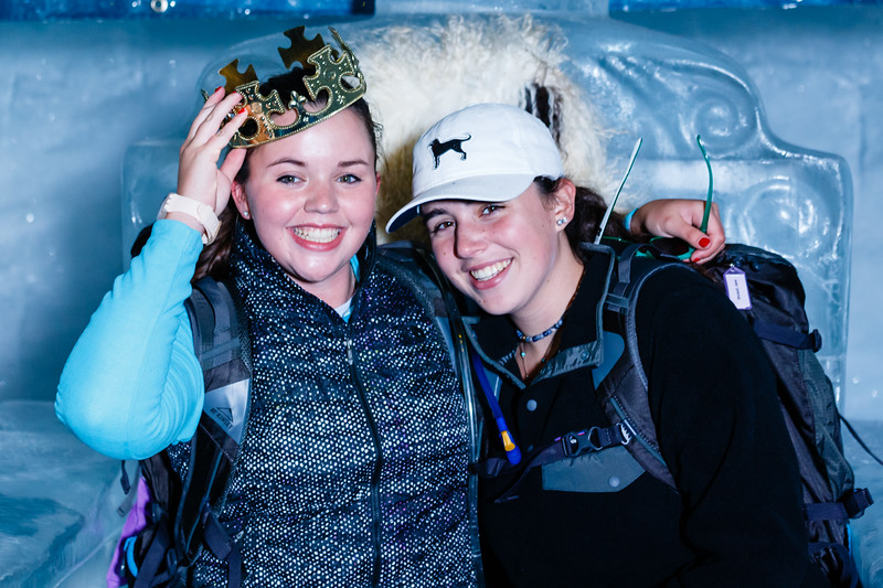 """King"" Hannah and Jane in the ice cave up at Klein Matterhorn"