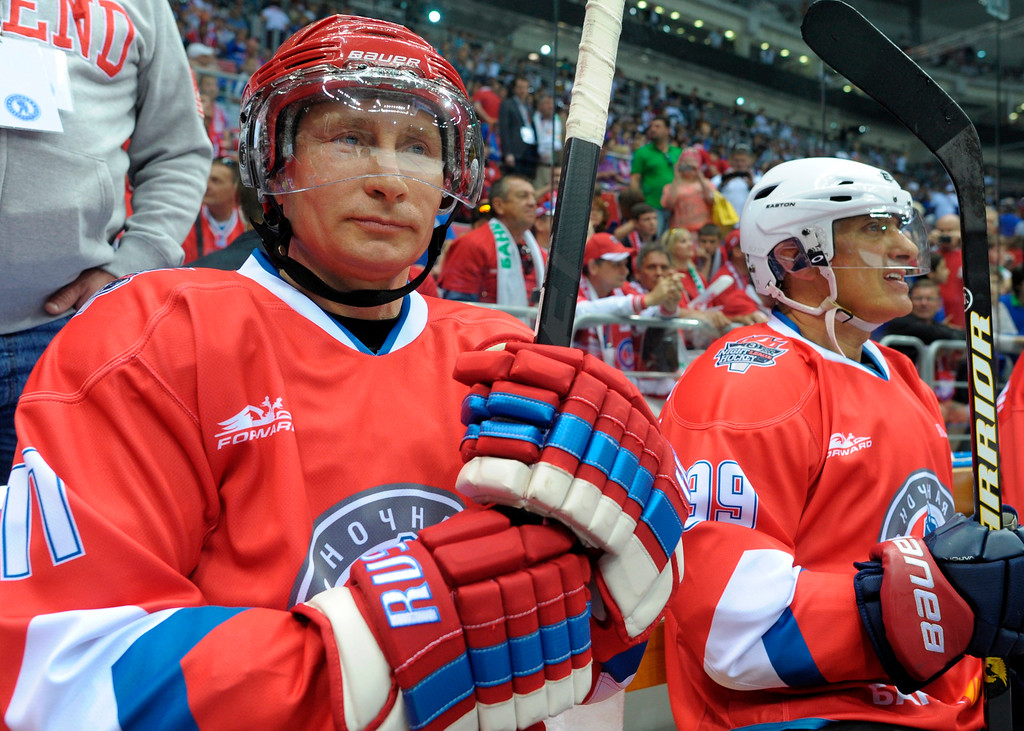 . Russian President Vladimir Putin takes part in an ice hockey match between Russian amateur players and ice hockey stars at a festival of Russia\'s amateur hockey organized by the Night Hockey League in the Bolshoy arena in the Olympic Park in the Black Sea resort of Sochi, Russia, Saturday, May 10, 2014. (AP Photo/RIA-Novosti, Alexei Druzhinin, Presidential Press Service, File)