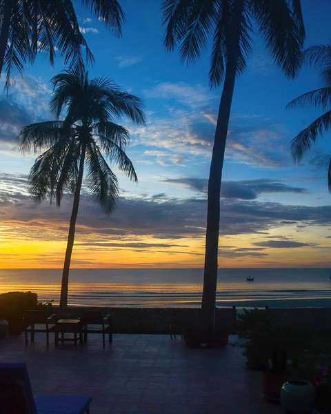 Colourful gold and blue stratocumulus cloudy exotic tropical sunrise seascape with Palm Trees in silhouette.