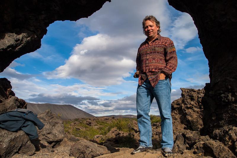 Roger at the Dimmuborgir Lava formations