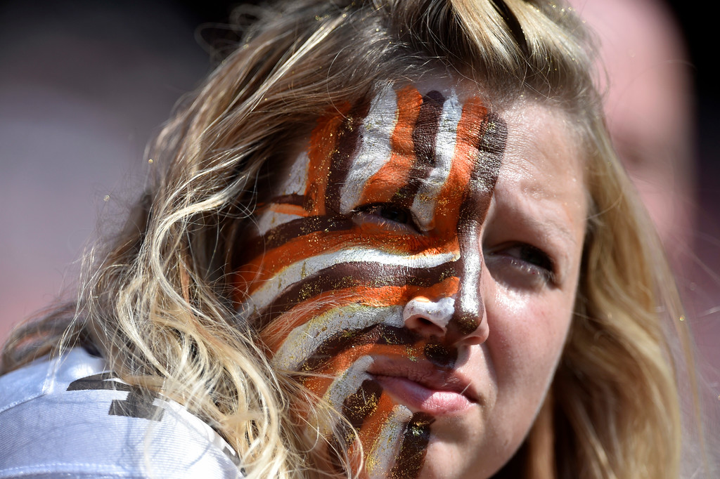 . A Cleveland Browns fan watches during the second half of an NFL football game between the Pittsburgh Steelers and the Cleveland Browns, Sunday, Sept. 10, 2017, in Cleveland. (AP Photo/David Richard)