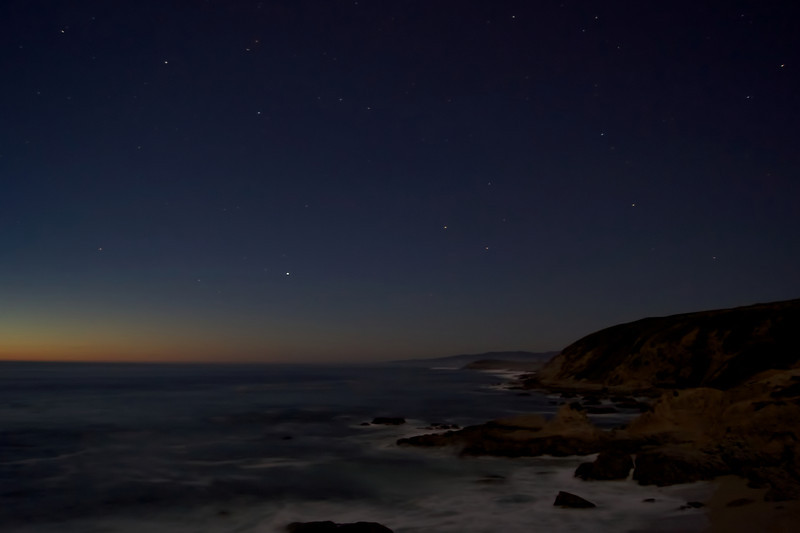 Night falls onto Bodega Bay