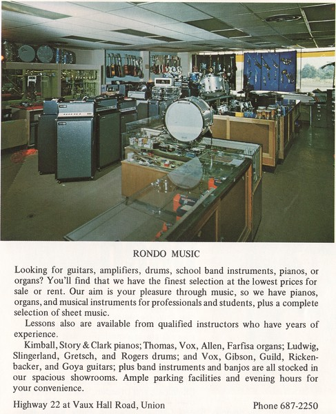 Rondo Music Ad from 1969 with a photo including a Kustom Padded amplifier, Ludwig drums, and what appears to be a Fender pink paisley bass guitar