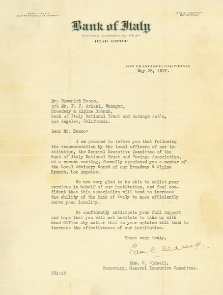 1927, Bank of Italy Letter
