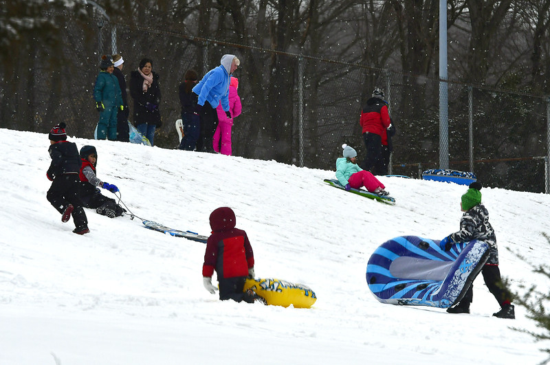 3/2/2019 Mike Orazzi   Staff Sledders take to the hill at Page Park in Bristol Saturday morning after a fresh snowfall.