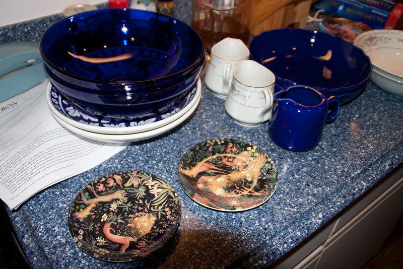 Serving dishes on the kitchen counter. Matching nicely!